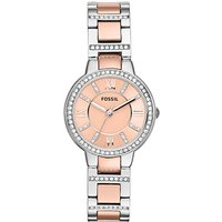 fossil ladies two tone virginia watch