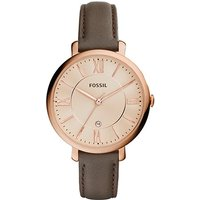 fossil ladies jacqueline grey leather watch