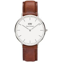 daniel wellington ladies classic st andrews stainless steel and brown leather 36mm watch