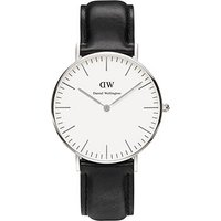 daniel wellington ladies stainless steel classic sheffield black leather 36mm watch