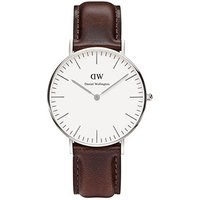 daniel wellington stainless steel ladies classic bristol brown leather 36mm watch