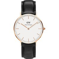 daniel wellington ladies rose gold plated classic sheffield black leather 36mm watch