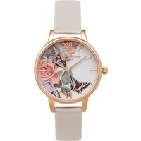 olivia burton enchanted garden blush and rose gold watch