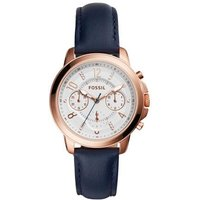fossil ladies gwynn chronograph rose and navy leather watch