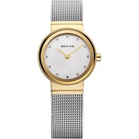bering ladies gold plate 24mm dial mesh bracelet watch