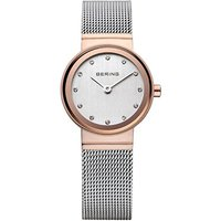 bering ladies stainless steel and rose gold plate 26mm watch
