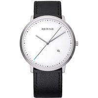 bering gents classic black leather white dial watch