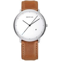 bering gents classic brown leather white dial watch