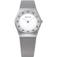 bering ladies 27mm zirconia dial mesh bracelet watch