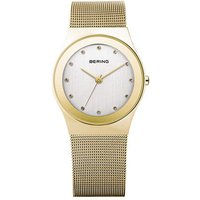 bering ladies 27mm gold plated zirconia dial mesh bracelet watch