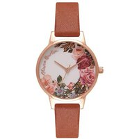 olivia burton english garden tan and rose gold plated watch