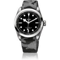tudor gents heritage black bay 41 black dial steel bracelet watch with additional strap