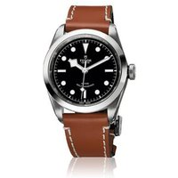 tudor gents heritage black bay 41 black dial leather bracelet watch with additional strap