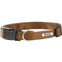 Adjustable Soft Fabric Dog Puppy Collar with Buckle and Clip for Lead  Brown   Medium