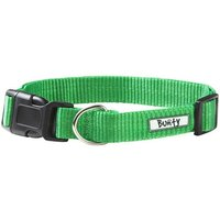 Adjustable Soft Fabric Dog Puppy Collar with Buckle and Clip for Lead  Green   Small
