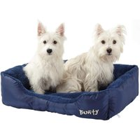 Deluxe Soft Washable Dog Pet Bed   Basket  Bed Cushion with Fleece Lining  Blue   Large
