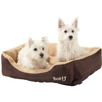 Deluxe Soft Washable Dog Pet Bed - Basket, Bed Cushion with Fleece Lining, Brown / Large