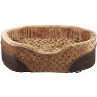 Bunty Mocha Dog Bed Soft Washable Fleece Fur Cushion Warm Luxury Pet Basket, Brown / Large