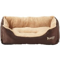 Deluxe Soft Washable Dog Pet Bed   Basket  Bed Cushion with Fleece Lining  Brown   Small