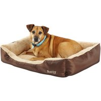 Deluxe Soft Washable Dog Pet Bed - Basket, Bed Cushion with Fleece Lining, Brown / X-Large