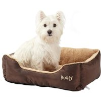 Deluxe Soft Washable Dog Pet Bed   Basket  Bed Cushion with Fleece Lining  Brown   Medium