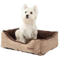Deluxe Soft Washable Dog Pet Bed   Basket  Bed Cushion with Fleece Lining  Cream   Medium