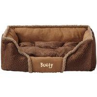 Bunty Kensington Dog Bed Soft Washable Fleece Fur Cushion Warm Luxury Pet Basket, Brown / Small