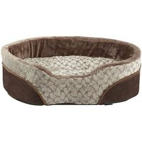 Bunty Mocha Dog Bed Soft Washable Fleece Fur Cushion Warm Luxury Pet Basket, Cream / Large