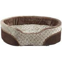 Bunty Mocha Dog Bed Soft Washable Fleece Fur Cushion Warm Luxury Pet Basket, Cream / Medium