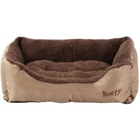 Deluxe Soft Washable Dog Pet Bed   Basket  Bed Cushion with Fleece Lining  Cream   Small