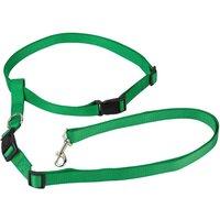 Adjustable Handsfree Hands Free Dog Running Jogging Waist Belt Lead Leash  Green   Large
