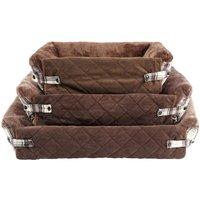 Bunty Stirling Dog Bed Soft Washable Tartan Fabric Cushion Sofa Chair Pet Basket, Brown / Large