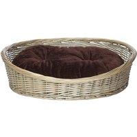 Wicker Basket and Chester Oval Fleece Dog Bed, Brown / Large