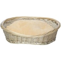 Wicker Basket and Chester Oval Fleece Dog Bed, Cream / Small