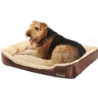 Deluxe Soft Washable Dog Pet Bed   Basket  Bed Cushion with Fleece Lining  Brown   XX Large