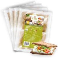 Lizza Low Carb Toasties » Bio » 4 Stück à 50g (94% weniger Kohlenhydrate als herkömmlicher Weizen-Toast) » 4 Pack