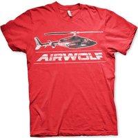 Sale Item - Sale Item - Airwolf Mens T Shirt - Distressed Chopper - Red - Small