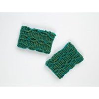 Twisted Vine Wristwarmers by Zoe Potrac in Scheepjes River Washed