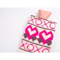 X's & O's Hot Water Bottle Cover by Zoe Potrac in Stylecraft Special DK