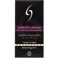 Gemini Chocolate 80% Dark Chocolate Bar with Hazelnuts and Sultanas 90g