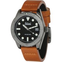 Szanto Vintage Dive Watch Plated - Gun Grey / Tan Leather - Gun Gifts