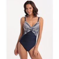Charmline Harbour Breeze Twist Front Swimsuit - Navy/White
