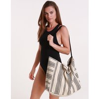 Seafolly Stripe Essential Beach Tote - Black/White