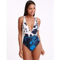 Ted Baker Bluebell Low V Swimsuit - Blue Night Sky