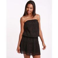 Melissa Odabash Iris Crochet Embroidered Bandeau Short Dress - Black