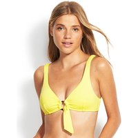 Seafolly Active Ring Front Crop Bikini Top - Limelight