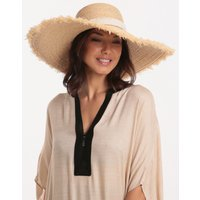 Heidi Klein Cape Elizabeth Off-The-Roll Raffia Wide Brim Frayed Hat - Natural