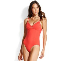 Seafolly Swim Quilted Maillot Swimsuit - Chilli Red