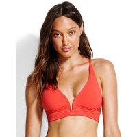 Seafolly Swim Quilted Longline Triangle Bikini Top - Chilli Red