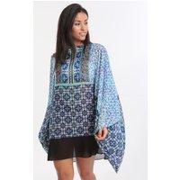Gottex Profile Collage Chiffon Kimono Kaftan - Multi Blue